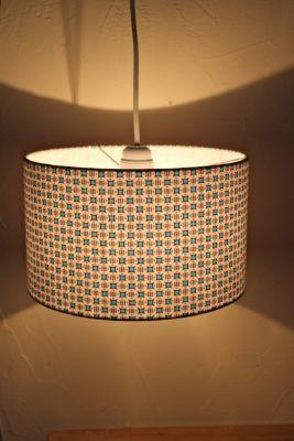 suspension tissu turquoise orange gris petit pan. Black Bedroom Furniture Sets. Home Design Ideas