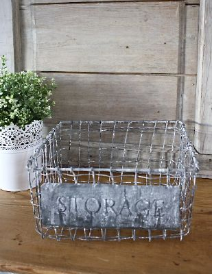 Panier en fil de fer storage pm-Deco zinc-chic antique
