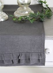 Chemin de table froufrou lin lavé couleur gris anthracite-décoration de charme