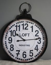 Horloge metal loft- decoration d'atelier-antic line