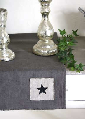 Chemin de table toile lin lav couleur anthracite d co - Chemin de table scandinave ...