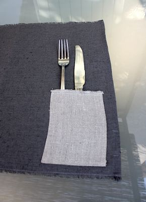 Set de table poche lin lavé couleur anthracite-déco scandinave