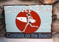 Plaque surf bar en tôle -Esprit mer-sphere inter