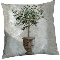 "V-Coussin "" le citronnier""-Oliva blue-decoration de charme"