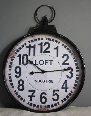 horloge metal loft decoration d 39 atelier antic line. Black Bedroom Furniture Sets. Home Design Ideas