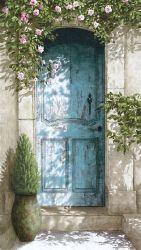 "Toile L "" la porte bleue""-Oliva blue-decoration de charme"