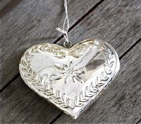 Coeur edelweiss metal argent-Chehoma bis - Decoration de charme