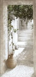 "Toile NA "" la ruelle"" GM-Oliva blue-decoration de charme"