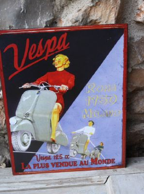 Plaque vespa 2- decoration d'atelier